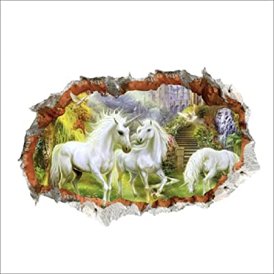 MiZuJ Home Decoration Unicorn in Dreamland Forest 3D Window Smashed Wall Sticker Decorative Poster for Kids Baby Nursery Bedroom Decal Decor Mural: Home & Kitchen