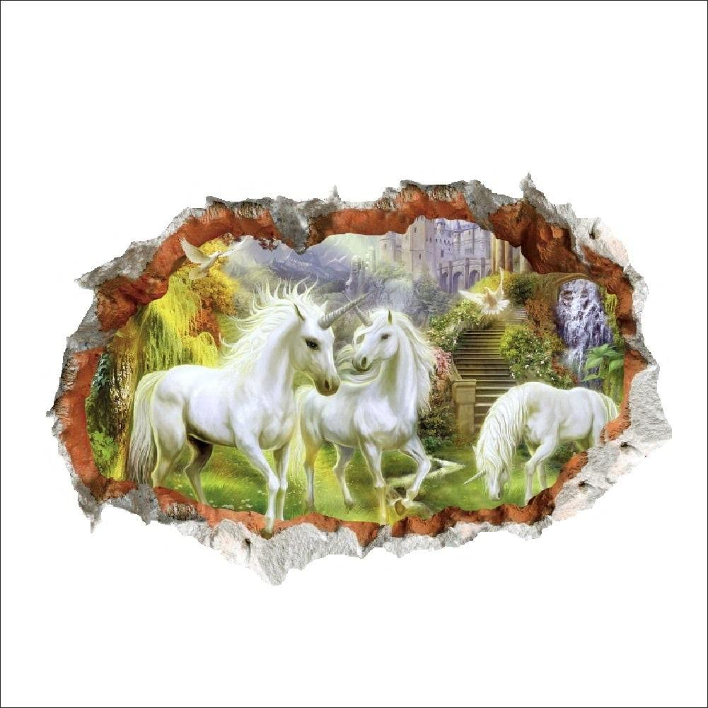 MiZuJ Home Decoration Unicorn in Dreamland Forest 3D Window Smashed Wall Sticker Decorative Poster for Kids Baby Nursery Bedroom Decal Decor Mural