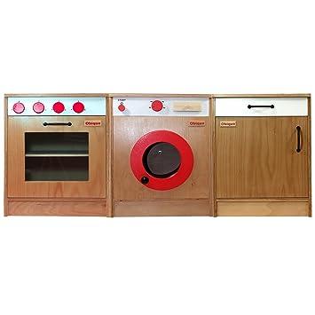 Muebles de cocina juguete de madera de Obique para niños, juego de 3 ...