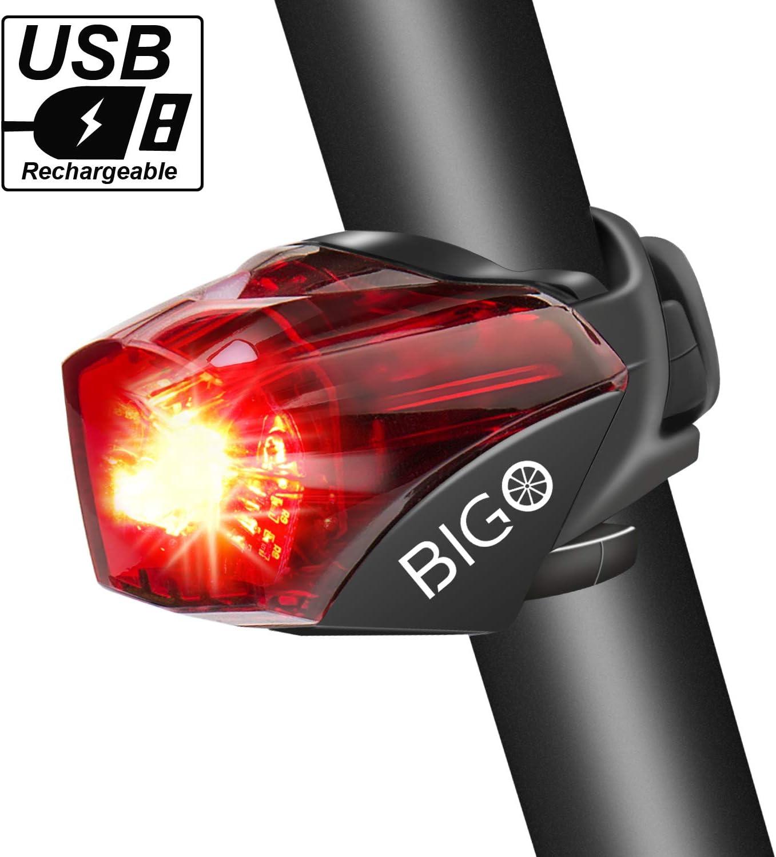 BIGO Luz Trasera para Bicicleta Recargable USB StVZO Super Brillante Rojo Luz LED Bici Impermeable Faro Trasero Bici para Máxima Seguridad de Ciclismo: Amazon.es: Deportes y aire libre