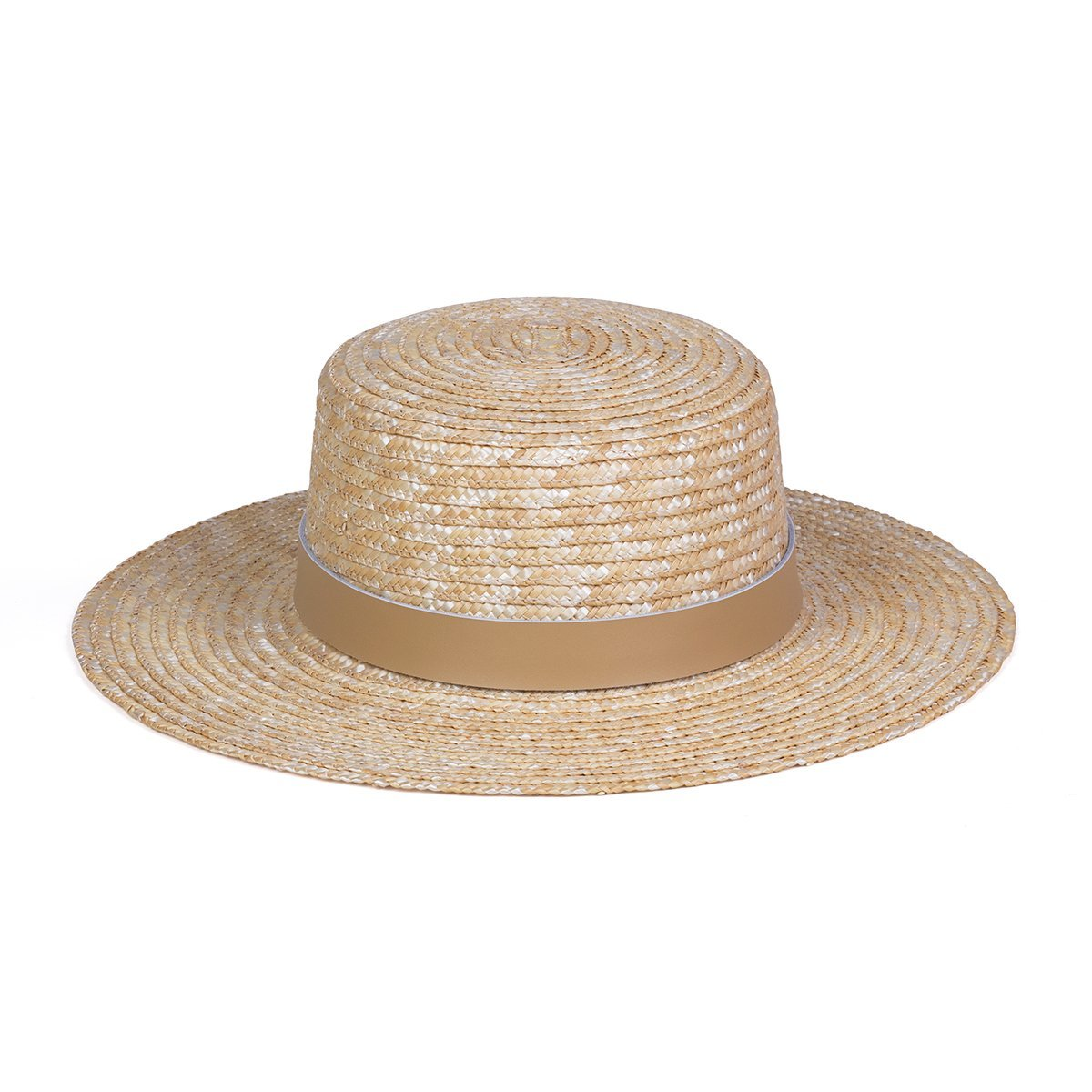 Lack of Color Women's Spencer Leather Banded Straw Boater Sun Hat (Fawn/Natural, Medium (57cm))