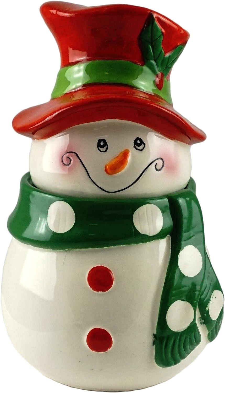Jolly Snowman Decorative Ceramic Cookie Jar Amazon Co Uk Kitchen Home