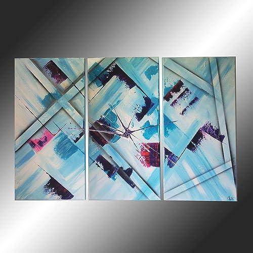 Art Contemporain Peinture Triptyque à Lacrylique Tableau Tendance