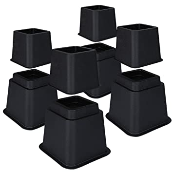 Astounding Homeideas Adjustable Bed Risers 3 5 Or 8 Inch Heavy Duty Bed Lifts Furniture Risers For Tables Sofas Chairs Black 8 Piece Set Machost Co Dining Chair Design Ideas Machostcouk