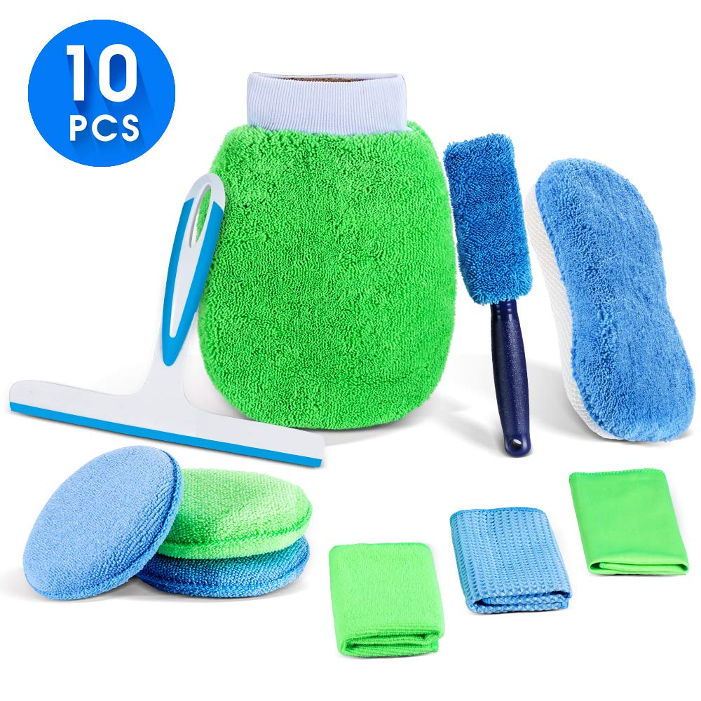 Masthome Car Cleaning Set 10 PCS Car Wash Kit with 1 x Wheel Brush,1 x Car Squeegee,1 x 2-in-1 Wash Sponge, 1 x Wash Mitt, 3 x Polish Application Pads,3 x Cleaning Cloth