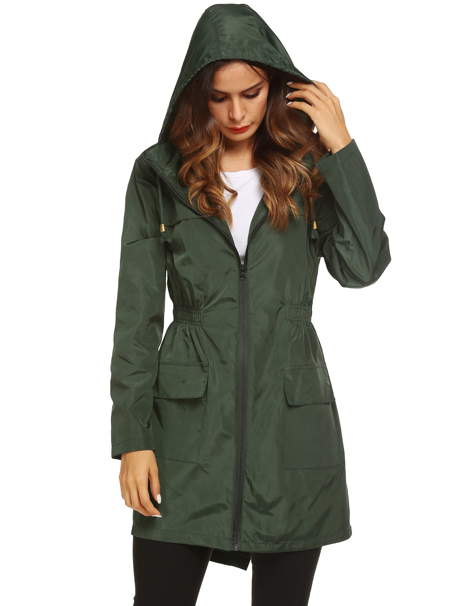 LOMON Womens Lightweight Sun Protect Hooded Quick Dry Windproof Trench Rain Jacket