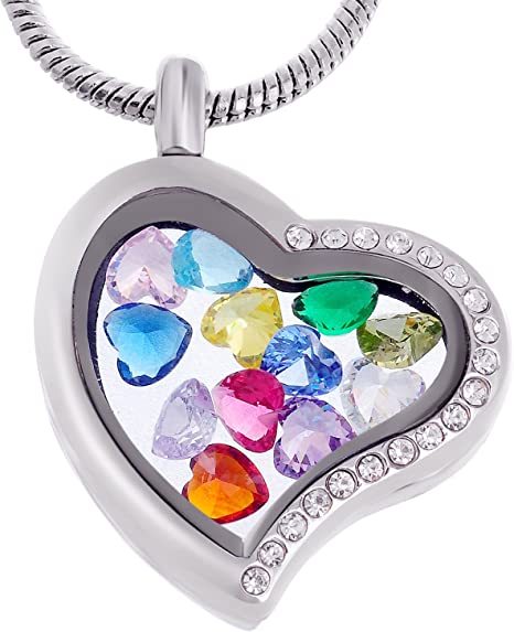 Wholesale Heart//Round Crystal Silver//Gold Floating Memory Living Locket Necklace