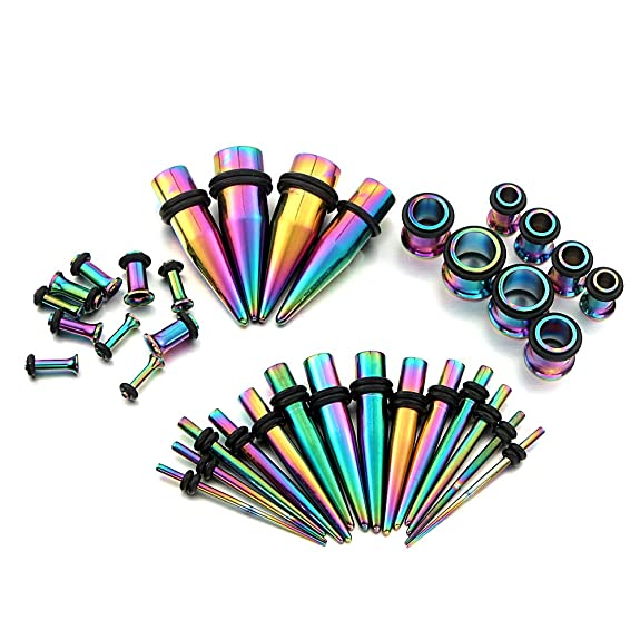 36pc arco iris titanio oreja calibres kit tapers de acero inoxidable con tapones 14g-00g estiramiento kit - Vcmart: Amazon.es: Joyería