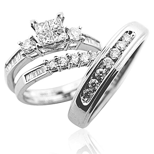 9ca7d97a8c8ed Midwest Jewellery Trio Wedding Ring Set His and Her Rings White Gold Real  Diamonds Princess 0.75ct(i2/i3, i/j