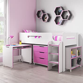 14f9b4fddaa2 Dynamo Pink Cabin Bed Midsleeper + Ladder Can Be Fitted Either Side +  Storage With Desk