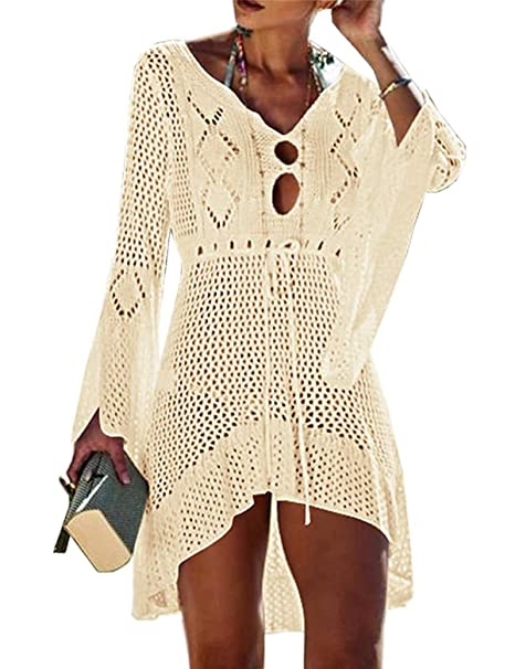 c254c071ac87 CXINS Women s Sexy Lace Bathing Suit Handmade Crochet Hollow Out Bikini  Cover Up Swimwear High Low