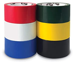6 Pack Duct Tape, Assorted Colors - Red, White, Blue, Black, Yellow, Green - Heavy Duty Duct Tape by Better Office Products, 1.88 Inch x 10 Yards Per Roll, Easy Tear, 6 Pack, Assorted Colors