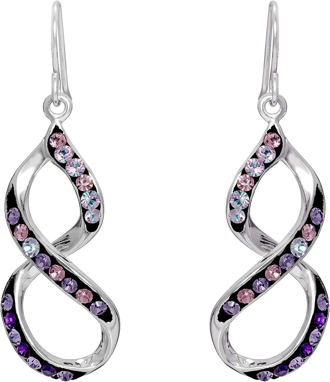 Crystalogy Rainbow Crystal Silver Plated Dangle Earrings