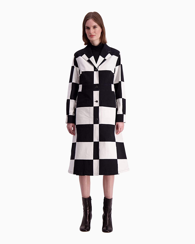 (マリメッコ) Marimekko レディースキャラクタールースターズアンドチキンスプリングコート (並行輸入品) B07PRQGVQX ブラック/ホワイト EU 42