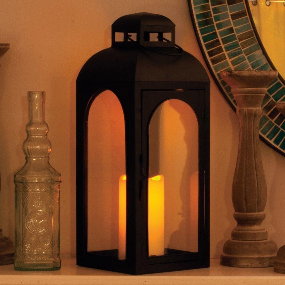 Smart Solar 84045-LC 17'' Matte Black Moreno LED Candle Lantern