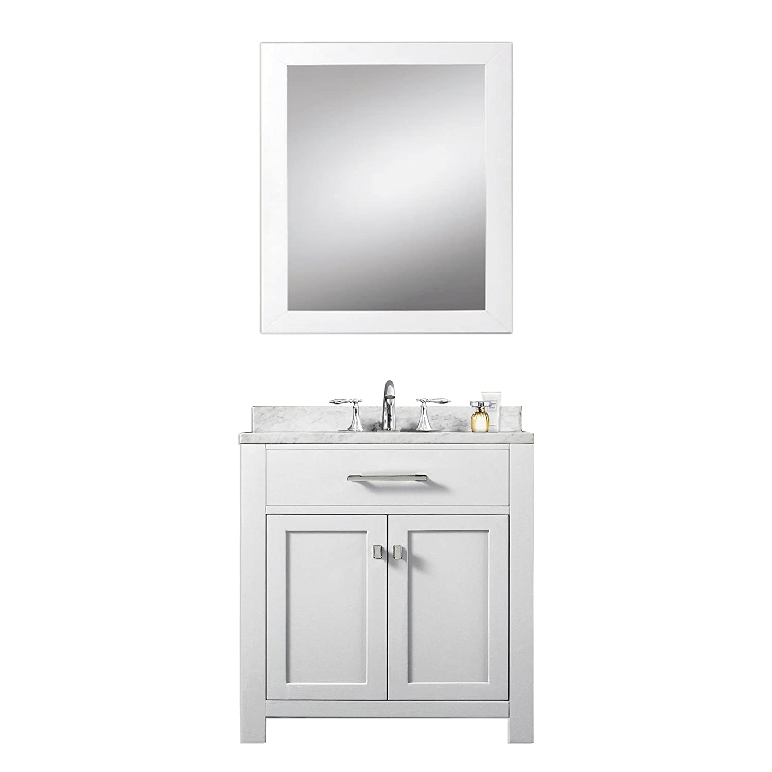 Water Creation Madison WB  Solid White Single Sink Bathroom - 30 bathroom vanity with sink