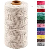Macrame Cord 3mm x 328 Feet,Natural White Rope String,Cotton Cord Twine for Wall Hanging Plant Hangers Crafts Knitting…