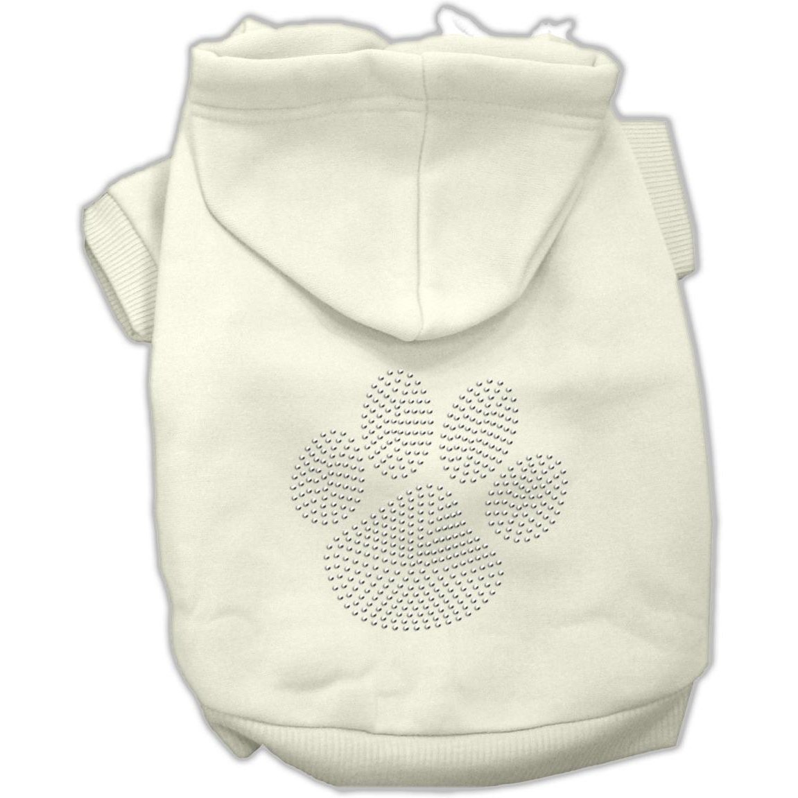 Mirage Pet Products Clear Rhinestone Paw Hoodies, Cream, Size 8