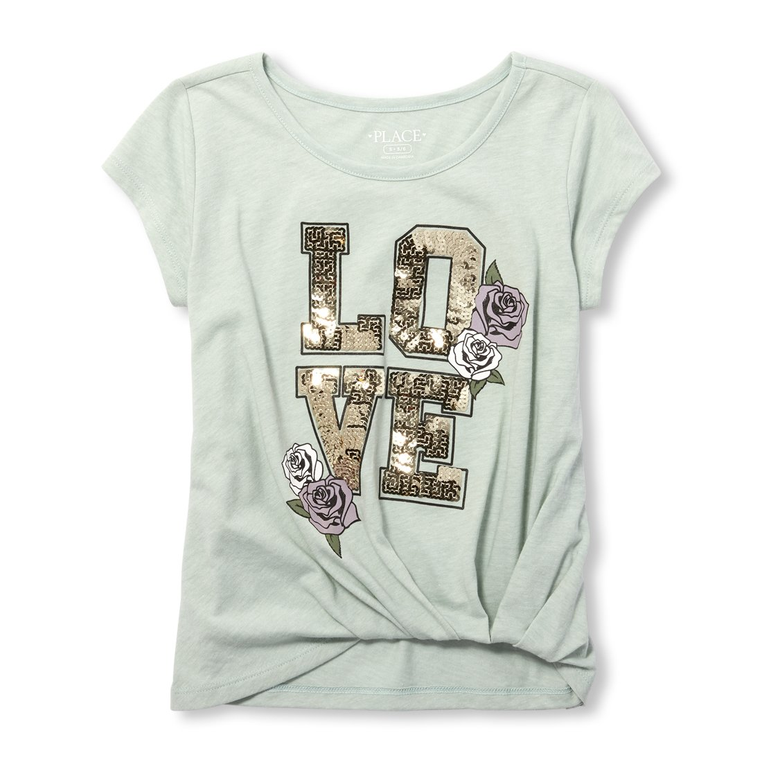 The Children's Place Big Girls' Front Detail Graphic Knit Top, Mint Chip, M (7/8)