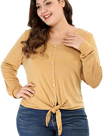 a7fcfe03d059 Agnes Orinda Plus Size Waffle Knit V Neck Button Down Tops Tie Front Knot  Long Sleeve Shirts at Amazon Women's Clothing store: