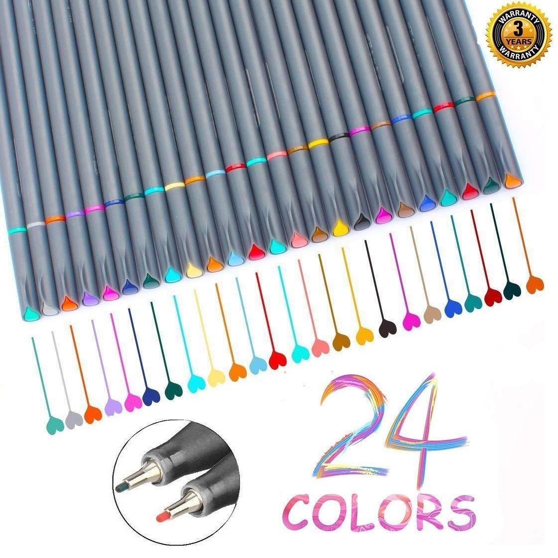 Fineliner Pens, Vonart Fineliner Color Pens 24 Art Pens for Drawing Fine Tip Colored Writing Pens Fine Line Point Marker Pens for Bullet Journal Planner Note Calendar Coloring Art Projects fineliner color art pens