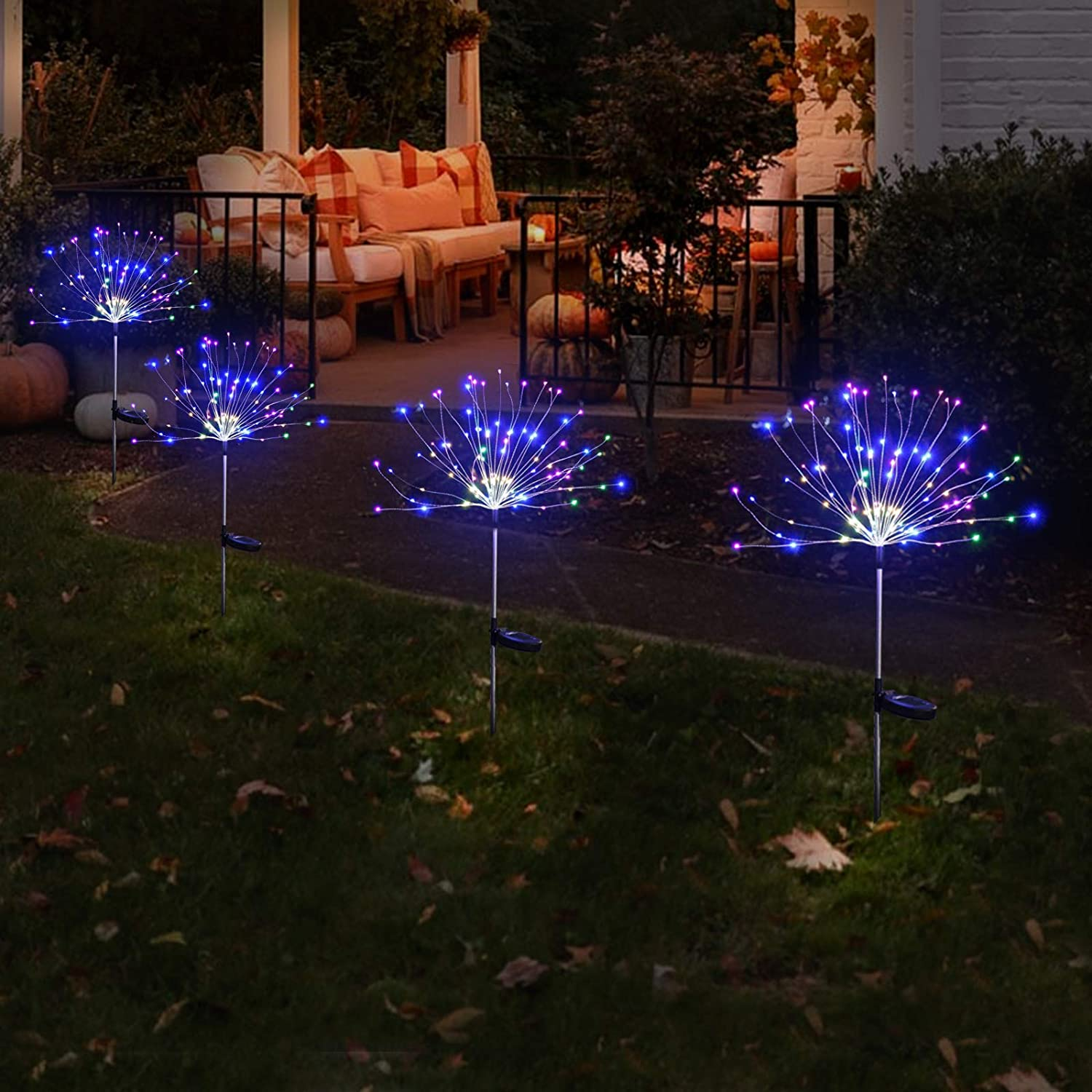 2 Pack Outdoor Home Decor Solar Powered Flowers Firework Lights, Waterproof DIY 40 Copper Wire Dimmable Multicolor Auto ON-Off 150 LED Lights for Garden Patio Yard Pathway Lawn Party
