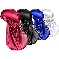 H HOME-MART Silk Durag Caps, 4 Pack Unisex Satin Durags Long Tail Wide Straps Headwraps for Men & Women Pirate Caps Head…