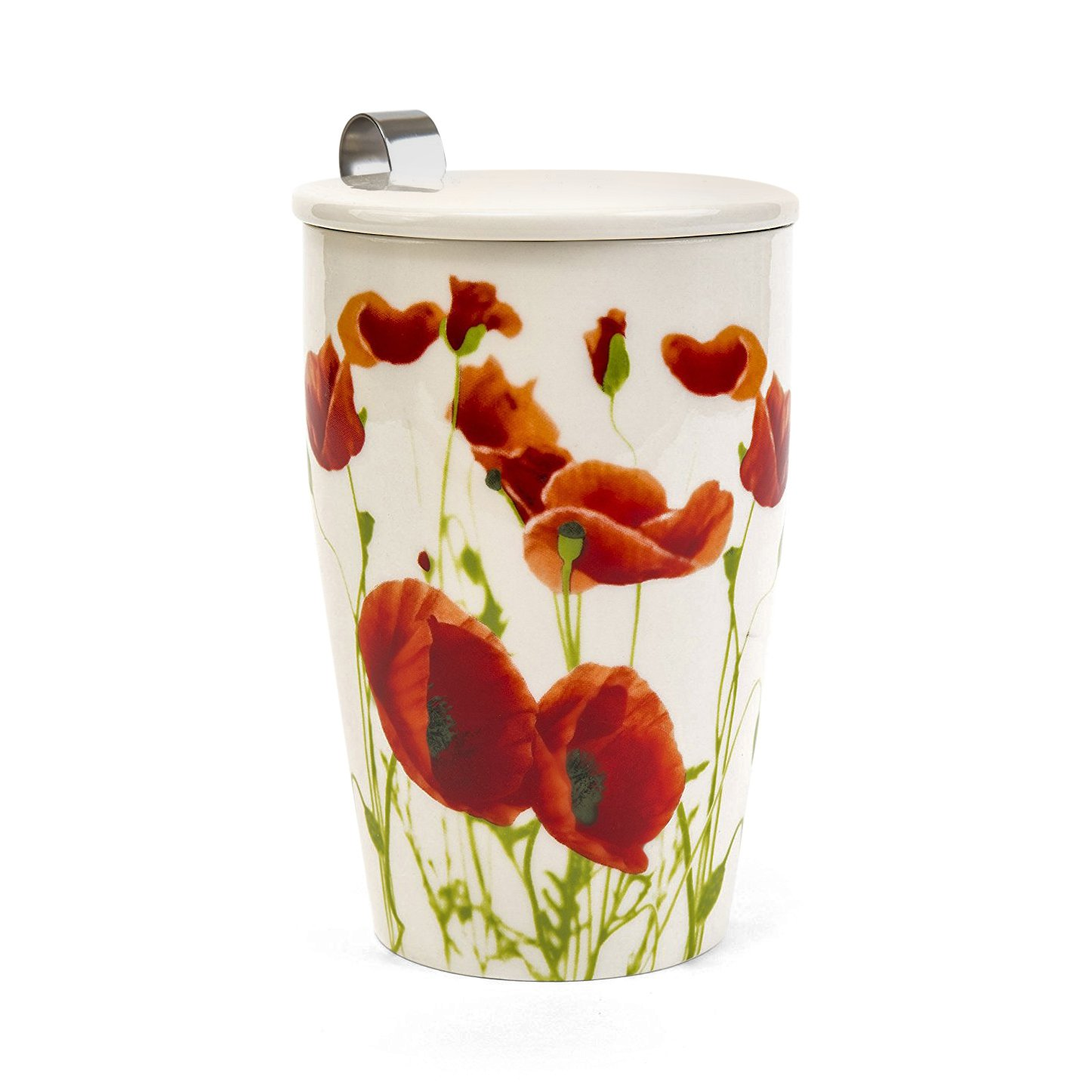 Stenhouse Porcelain mug with tea infuser and lid - Poppies