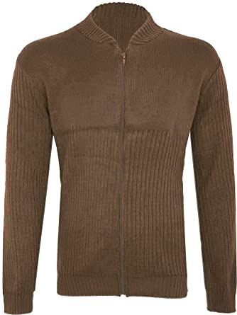 bb03cc1f77e3 Missmister Mens Gents Knitted Plain Jumper Cardigan with Front Zip and Half  Ribbed Sweatshirt  Amazon.co.uk  Clothing