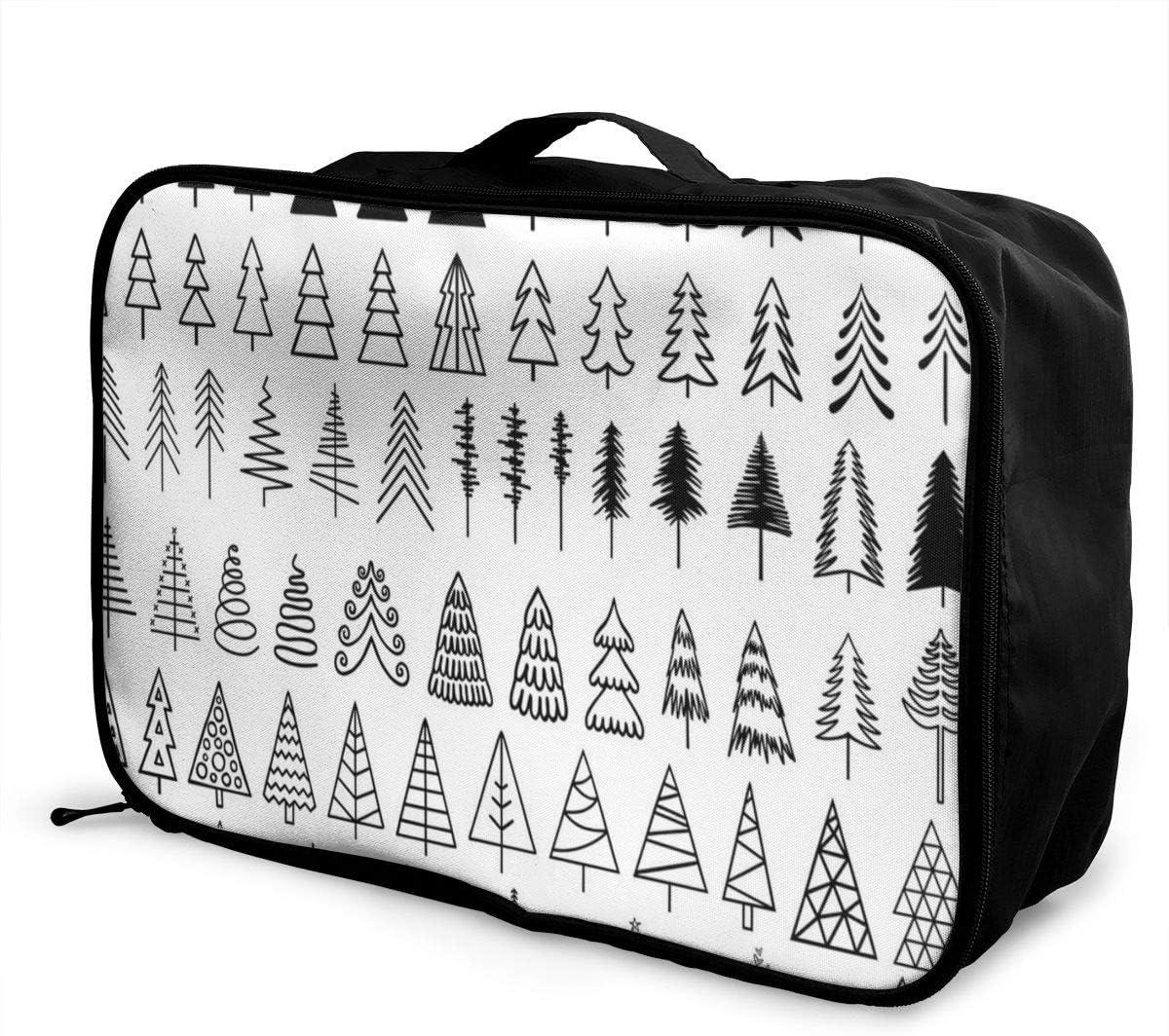 Yunshm Christmas Trees Set Personalized Trolley Handbag Waterproof Unisex Large Capacity For Business Travel Storage