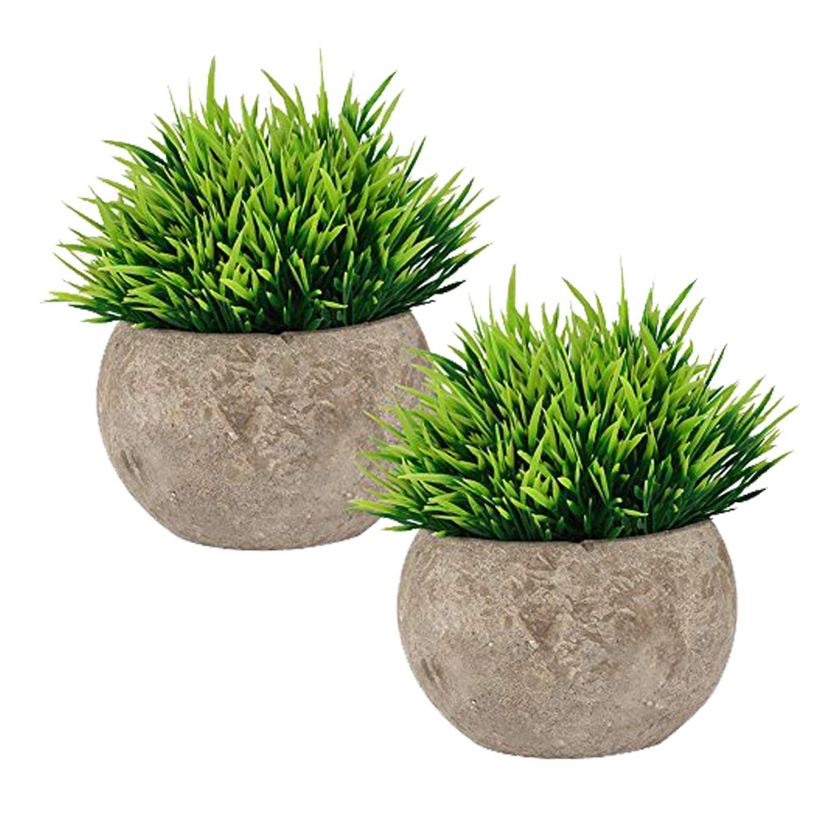 The Bloom Times 2 Pcs Fake Plant for Bathroom/Home Decor, Small Artificial Faux Greenery for House Decorations (Potted Plants Updated Version)