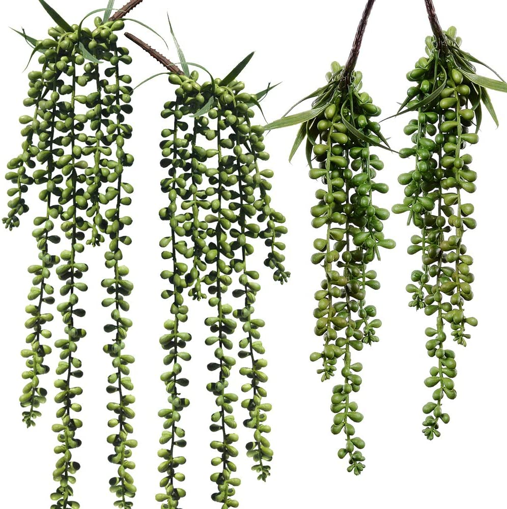 2x Artificial Succulents Plants String of Pearls Hanging Garden Decor Green