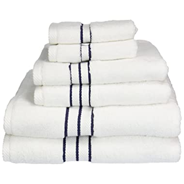 Superior Hotel Collection 900 Gram, 100% Premium Long-Staple Combed Cotton 6 Piece Towel Set, White with Navy Blue Border