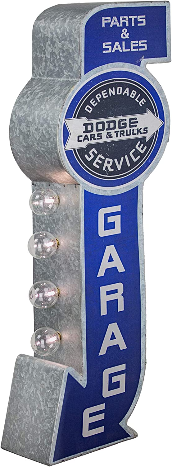 """American Art Decor Vintage Dodge Cars & Trucks Parts & Sales LED Marquee Sign for Man Cave, Bar, Garage – Battery Operated (25"""" x 8.75"""" x 4"""")"""