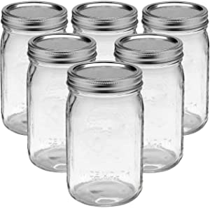 Bedoo Wide Mouth Mason Jars 32 oz with Lids and Bands 6 PACK, Quart Mason Jars with Airtight Lids , Clear Glass Mason Jars (Set of 6) (Wide Mouth)