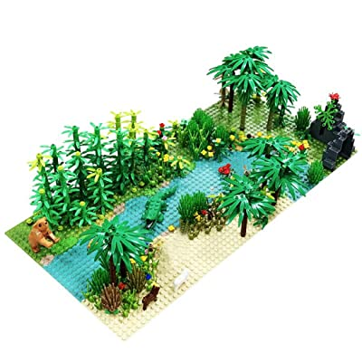 Lingxuinfo Jungle Scenery Building Block Rainforest Botanical Scenery Trees Flowers Accessories Building Bricks Toy Compatible with All Major Brands: Toys & Games