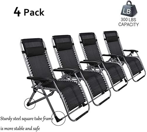 Dporticus 2 Pack Zero Gravity Chairs Patio Adjustable Folding Reclining Chairs with Pillow Outdoor Yard Beach Garden,300LB Capacity,Black