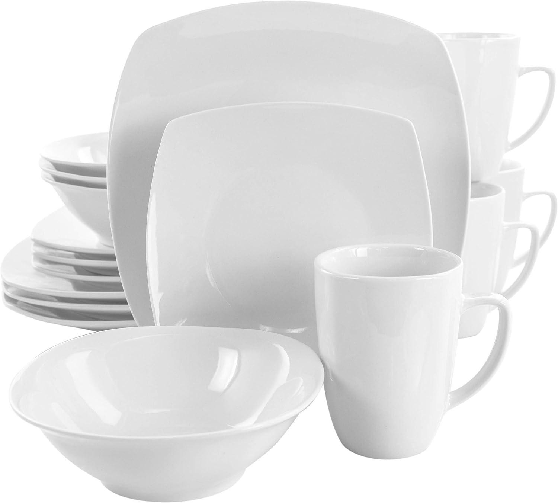 Elama Service for Four 16 Piece Porcelain Dinnerware Set, White-Square 2