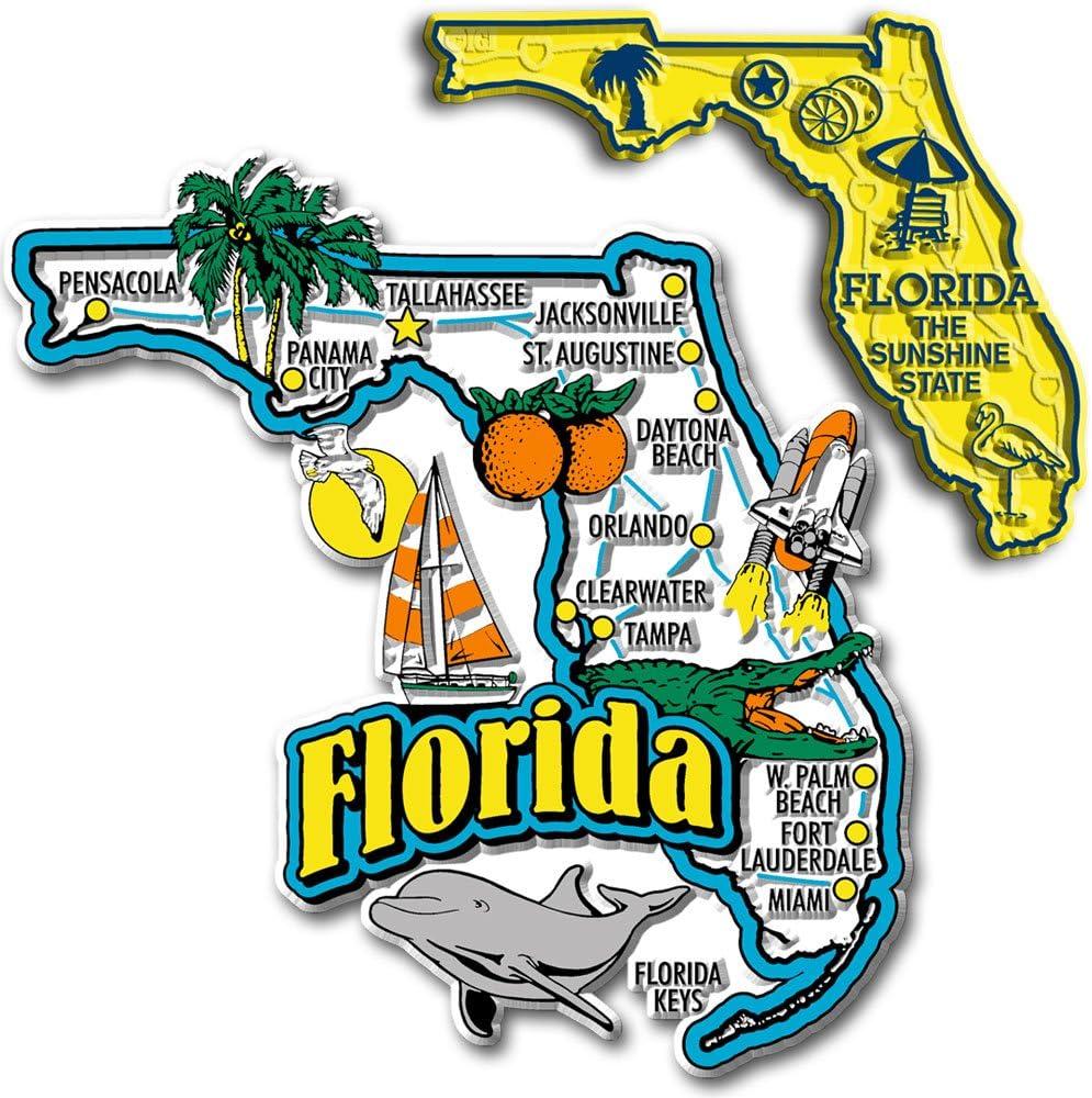 Jumbo & Small State Map Magnet Set - Florida