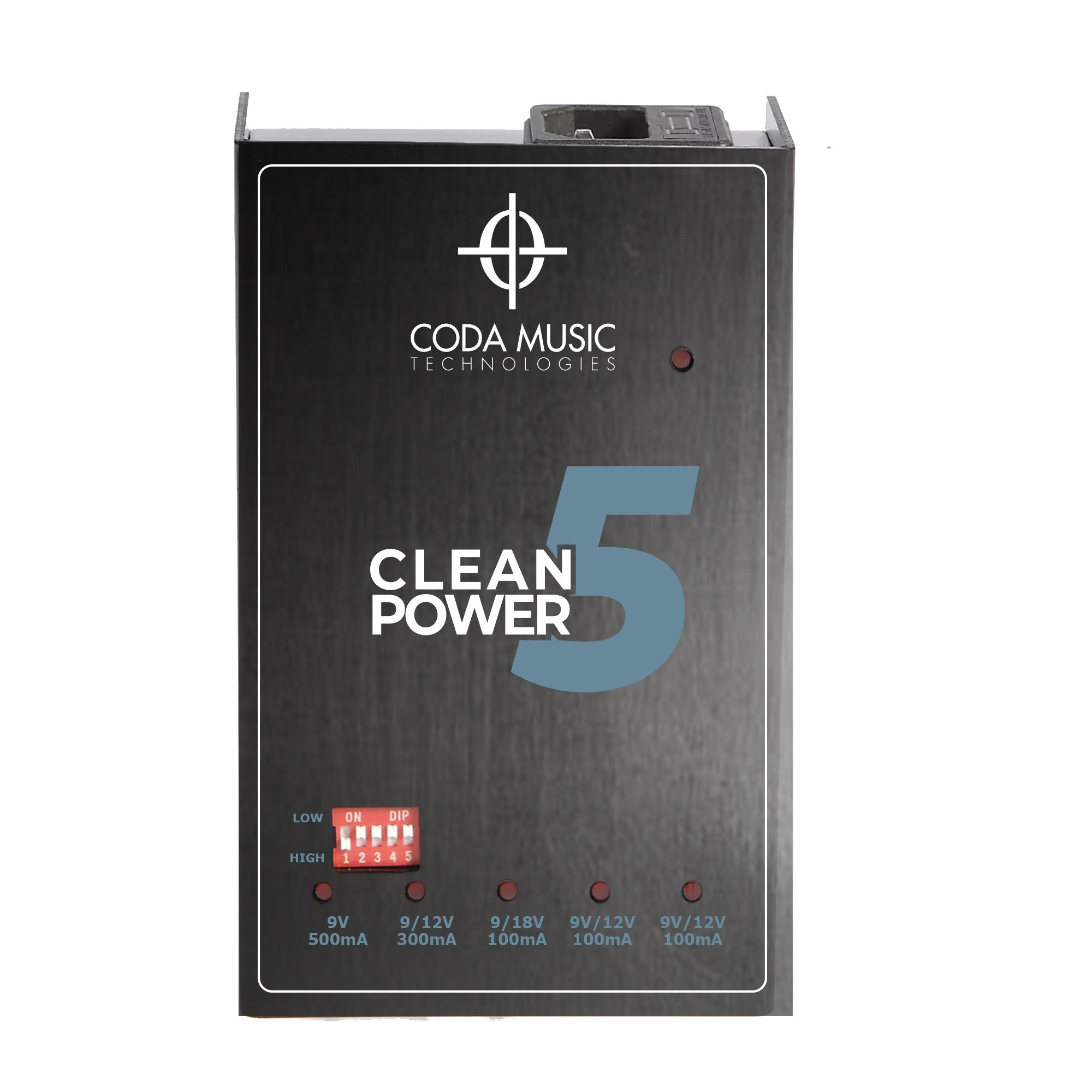 Clean Power 5 Isolated Guitar Pedal Power Supply w/Switchable Voltage by Coda Music Technologies by Coda Music Technologies