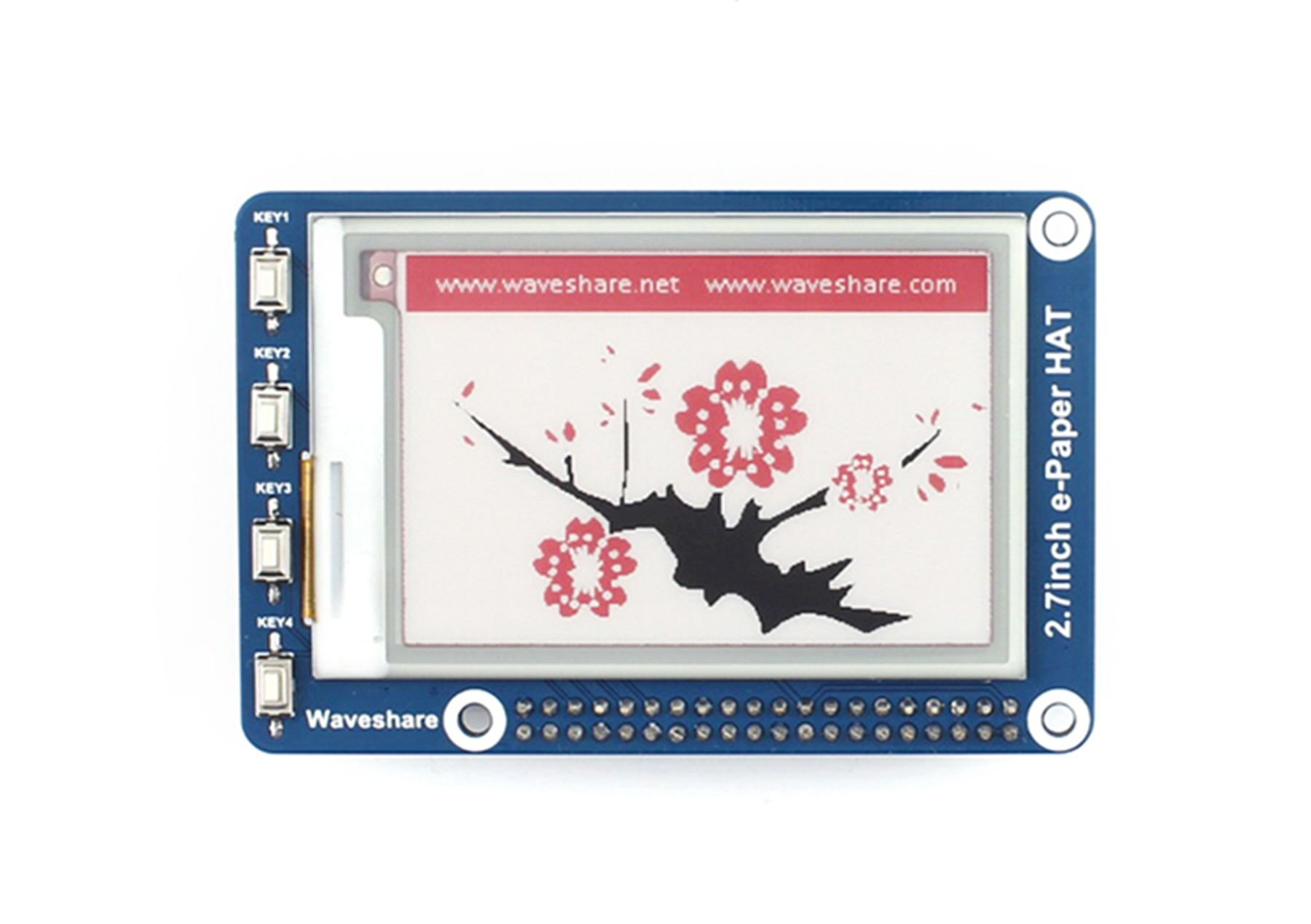 pzsmocn 264 176, 2.7inch E-Ink Display HAT(B) 3.3V Black,White and Red for Arduino/STM32/Nucleo/Raspberry Pi 2B/3B/Zero/Zero W, with Interface of 3-Wire SPI¡4-Wire SPI