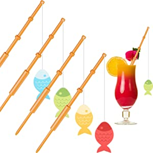 40 Pieces Mini Fish Pole Decoration Little Fisherman Fishing Pole Picks Mini Cupcake Picks for Birthday Party Tropical Party Appetizer Cake Decoration