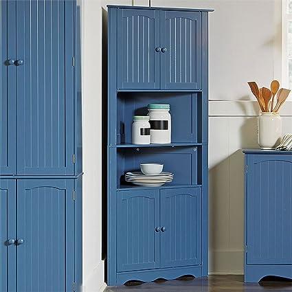 Attirant BrylaneHome Country Kitchen Corner Cabinet (Blue,0)