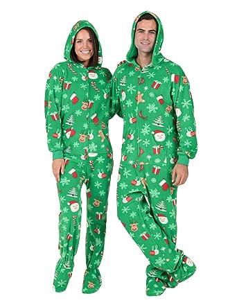 Footed Pajamas - Tis The Season Adult Hoodie Drop Seat Fleece-Medium Plus/Wide