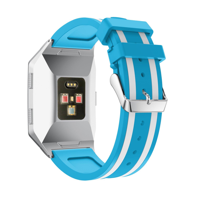 cmbroシリコン交換バンド時計バンドストラップブレスレットスポーツバンドアクセサリーfor Fitbit Ionic Fitness Tracker  ブルー&ホワイト B07BF99D3R