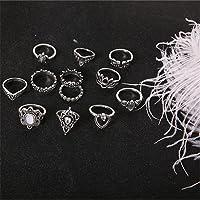 HENGSONG 13Pcs/set Vintage Bohemia Silvery Crystal Elegant Ring Set