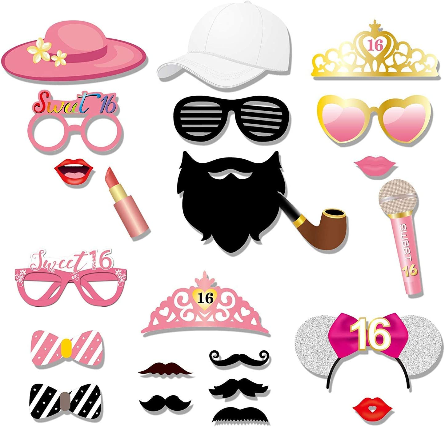 ,Funny Sweet Sixteen Birthday Party Photo Props for Girls,Pink Gold Decoration for 16th Birthday Party Favors Supplies Sweet 16th Birthday Photo Booth Props 44Pcs