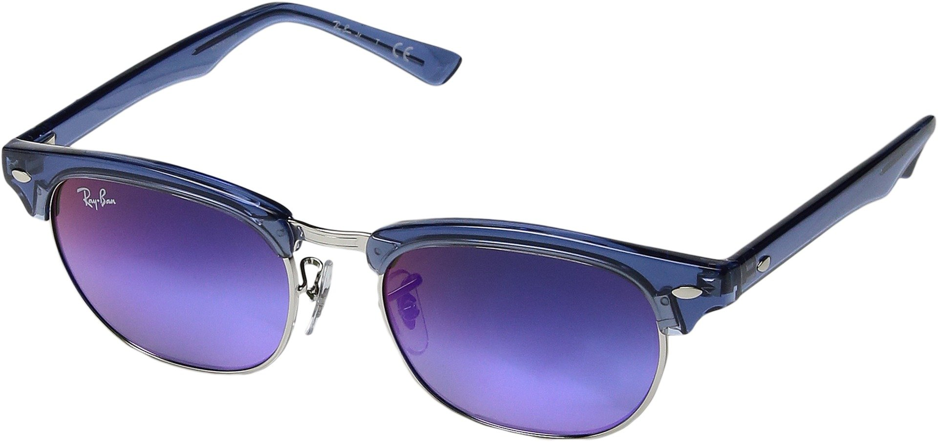 Ray-Ban Junior Unisex RJ9050S Clubmaster 47mm (Youth) Transparent Blue/Blue Mirror Gradient One Size