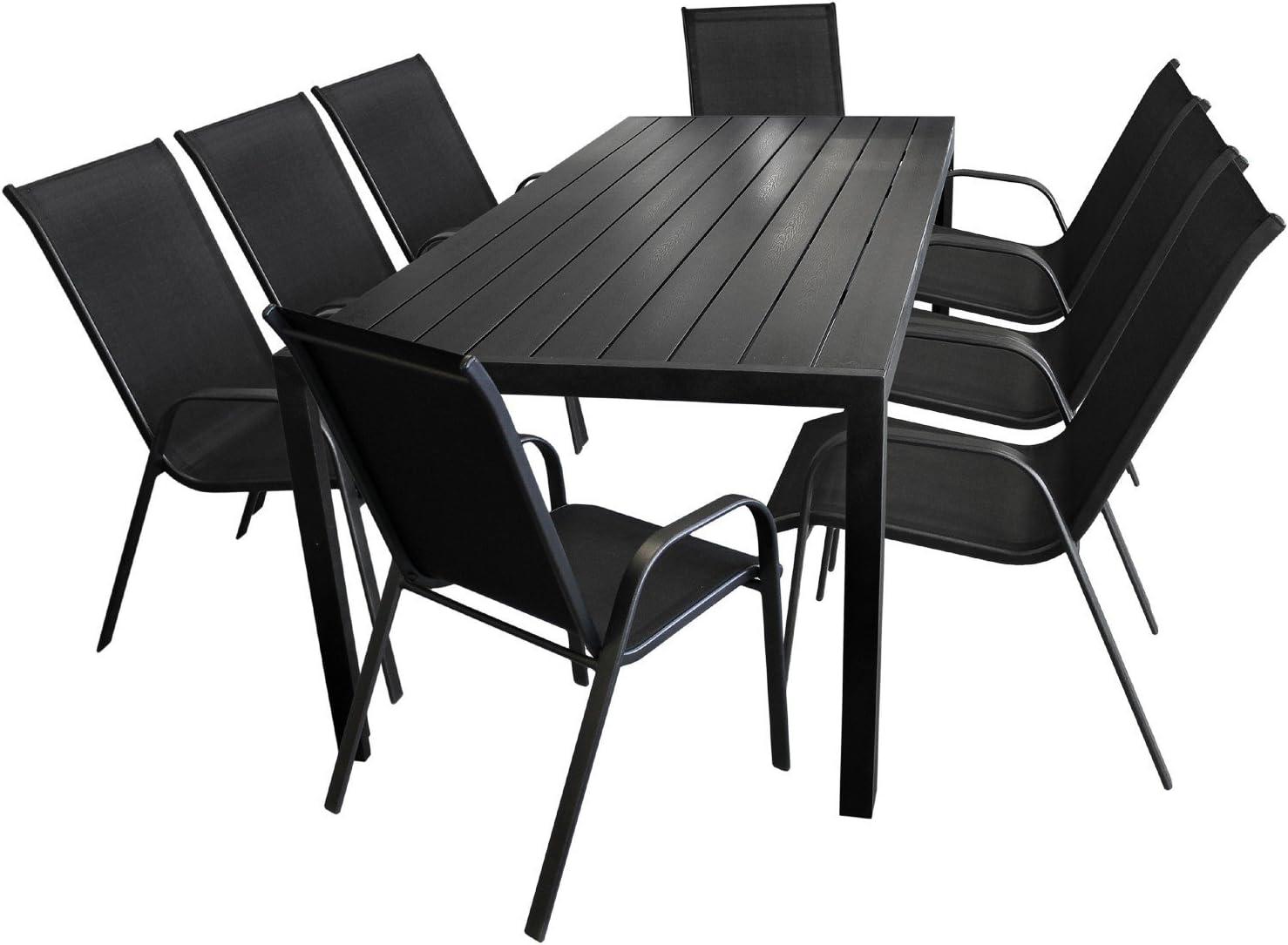 Wohaga 9tlg. Gartengarnitur Gartentisch 'Berlin', Aluminium, Polywood-Tischplatte, 200x90cm 8X Stapelstuhl, Textilengewebe/Gartenmöbel Schwarz