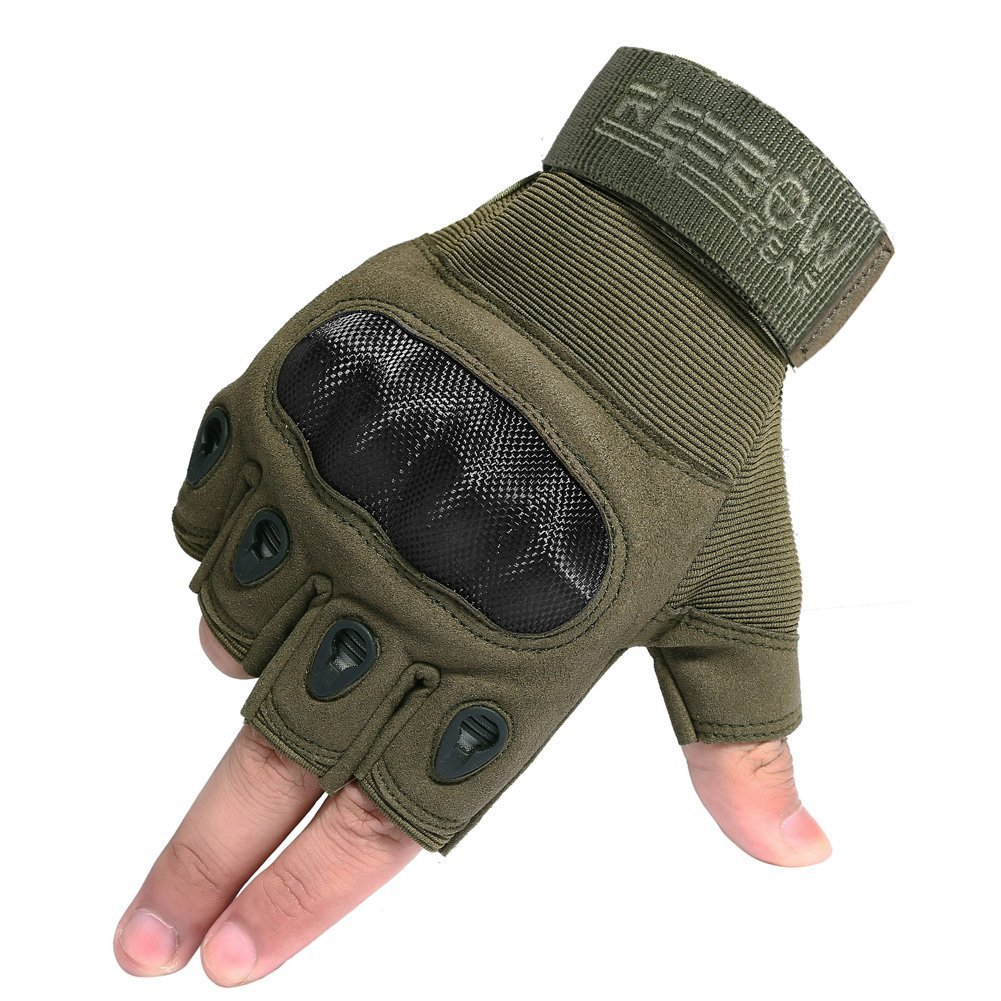 REEBOWGEAR Reebow Gear Military Fingerless Hard Knuckle Tactical Gloves Half Finger for Motorcycle Driving Riding Army Gear Sport Shooting Airsoft Paintball Army Green L